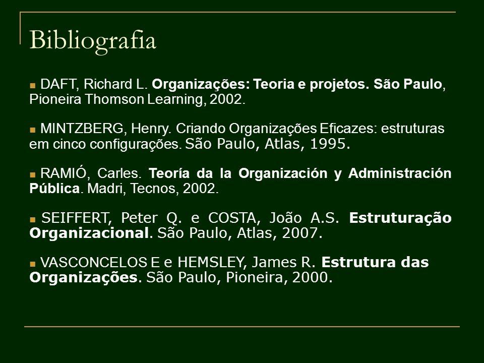 Bibliografia DAFT, Richard L. Organizações: Teoria e projetos. São Paulo, Pioneira Thomson Learning, 2002. MINTZBERG, Henry. Criando Organizações Efic