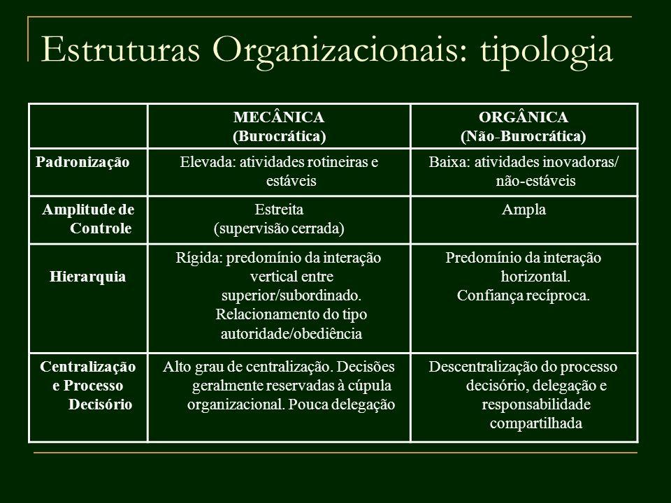Estruturas Organizacionais: tipologia MECÂNICA (Burocrática) ORGÂNICA (Não-Burocrática) PadronizaçãoElevada: atividades rotineiras e estáveis Baixa: a