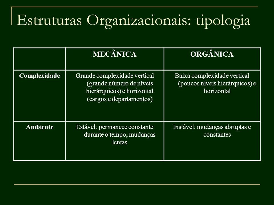 Estruturas Organizacionais: tipologia MECÂNICAORGÂNICA ComplexidadeGrande complexidade vertical (grande número de níveis hierárquicos) e horizontal (c