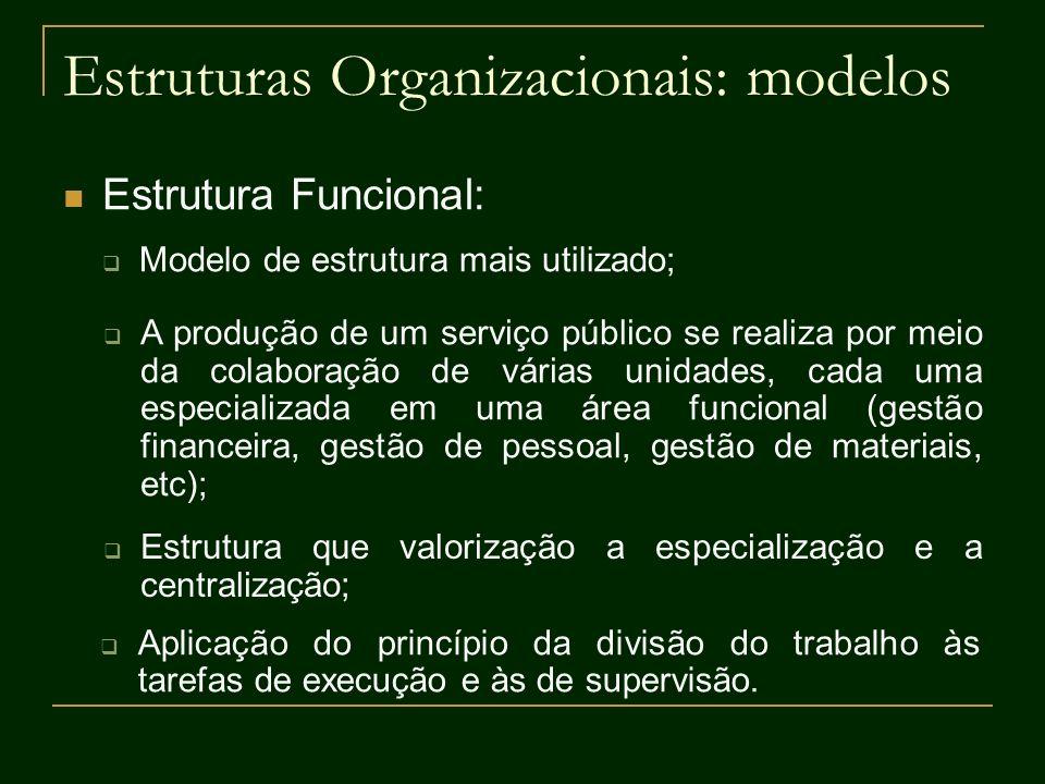 Estruturas Organizacionais: modelos Estrutura Funcional: Modelo de estrutura mais utilizado; A produção de um serviço público se realiza por meio da c