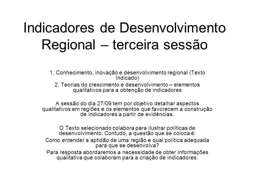 Indicadores de Desenvolvimento Regional – terceira sessão 1. Conhecimento, inovação e desenvolvimento regional (Texto Indicado) 2. Teorias do crescime