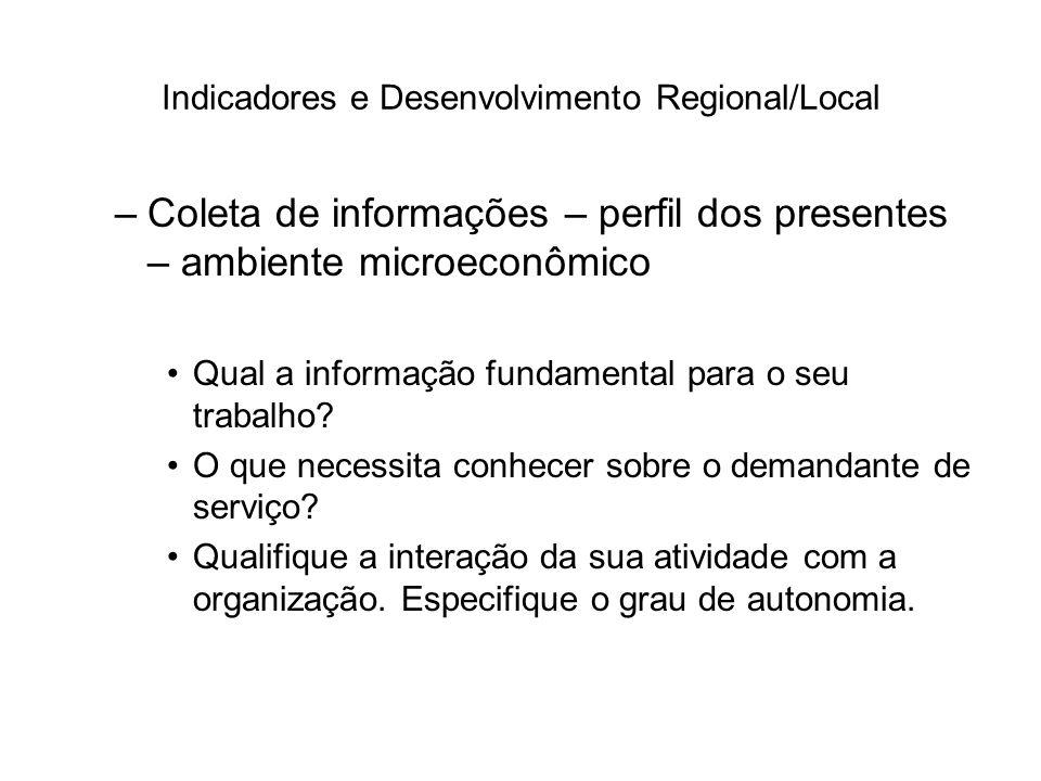 Indicadores e Desenvolvimento Regional/Local –Coleta de informações – perfil dos presentes – ambiente microeconômico Qual a informação fundamental par