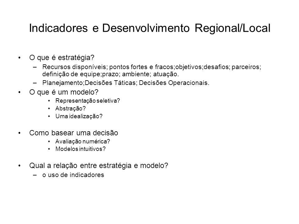 Indicadores e Desenvolvimento Regional/Local O que é estratégia? –Recursos disponíveis; pontos fortes e fracos;objetivos;desafios; parceiros; definiçã