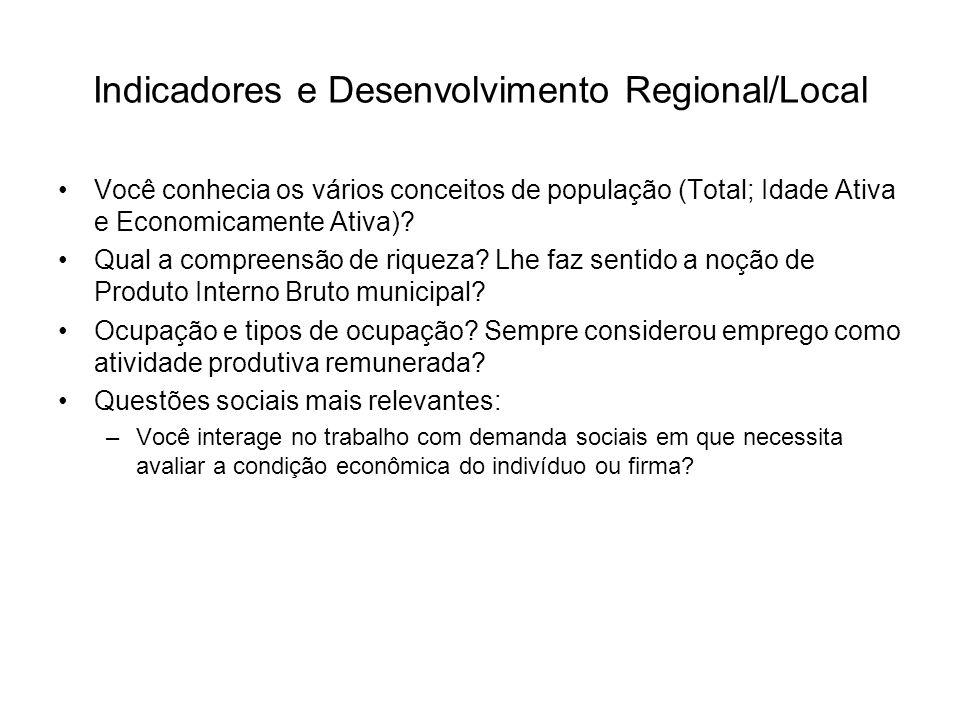 Indicadores e Desenvolvimento Regional/Local Você conhecia os vários conceitos de população (Total; Idade Ativa e Economicamente Ativa)? Qual a compre