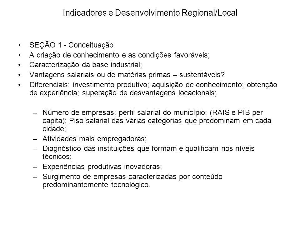 Indicadores e Desenvolvimento Regional/Local SEÇÃO 1 - Conceituação A criação de conhecimento e as condições favoráveis; Caracterização da base indust
