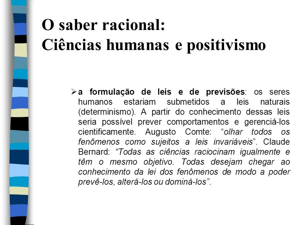 O saber racional: Ciências humanas e positivismo a formulação de leis e de previsões: os seres humanos estariam submetidos a leis naturais (determinis