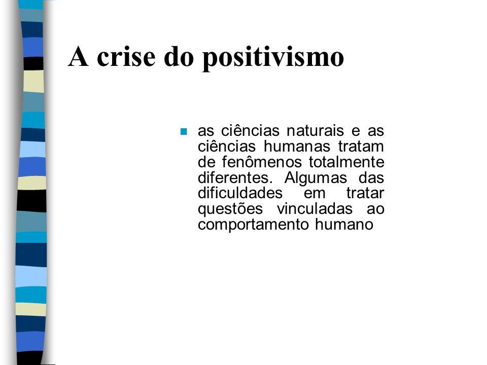A crise do positivismo n as ciências naturais e as ciências humanas tratam de fenômenos totalmente diferentes. Algumas das dificuldades em tratar ques
