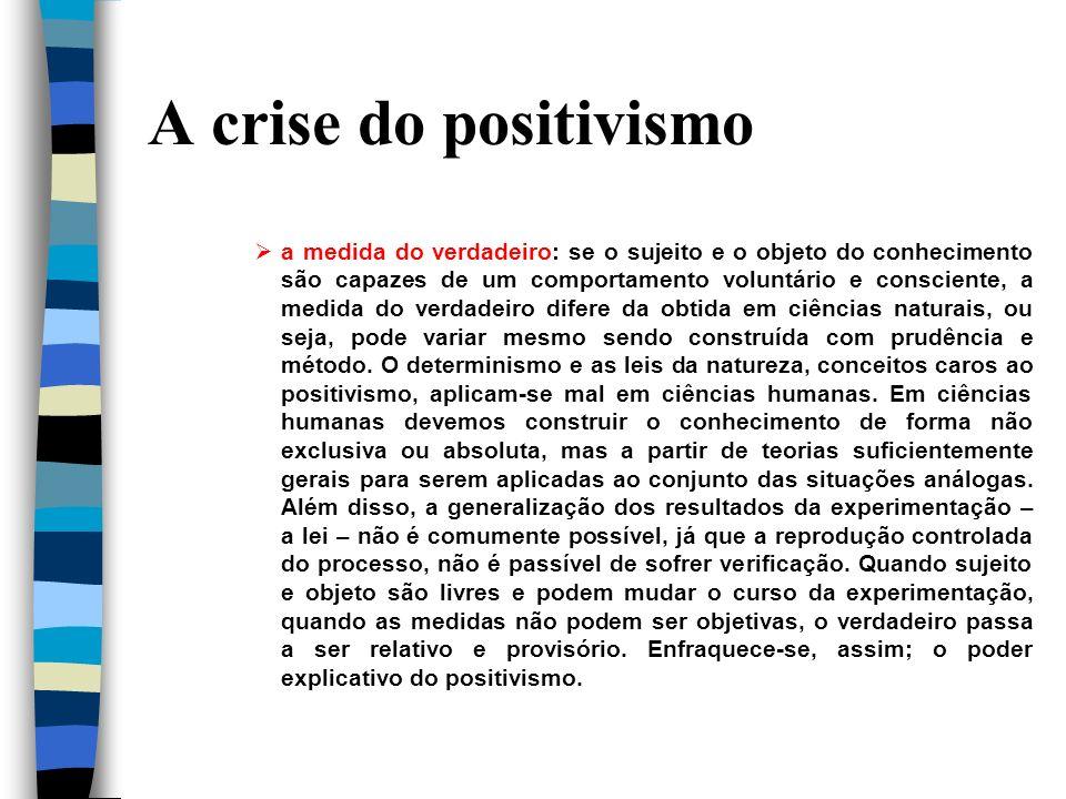 A crise do positivismo a medida do verdadeiro: se o sujeito e o objeto do conhecimento são capazes de um comportamento voluntário e consciente, a medi