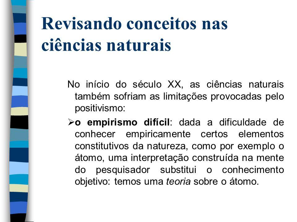 Revisando conceitos nas ciências naturais No início do século XX, as ciências naturais também sofriam as limitações provocadas pelo positivismo: o emp