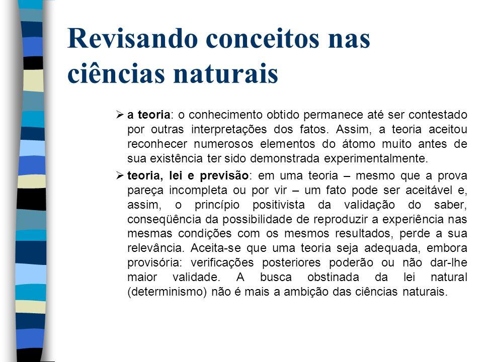 Revisando conceitos nas ciências naturais a teoria: o conhecimento obtido permanece até ser contestado por outras interpretações dos fatos. Assim, a t