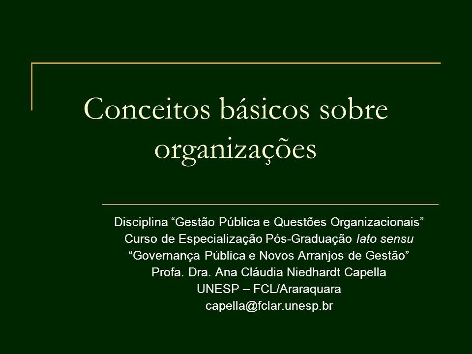 Conceitos básicos sobre organizações Disciplina Gestão Pública e Questões Organizacionais Curso de Especialização Pós-Graduação lato sensu Governança
