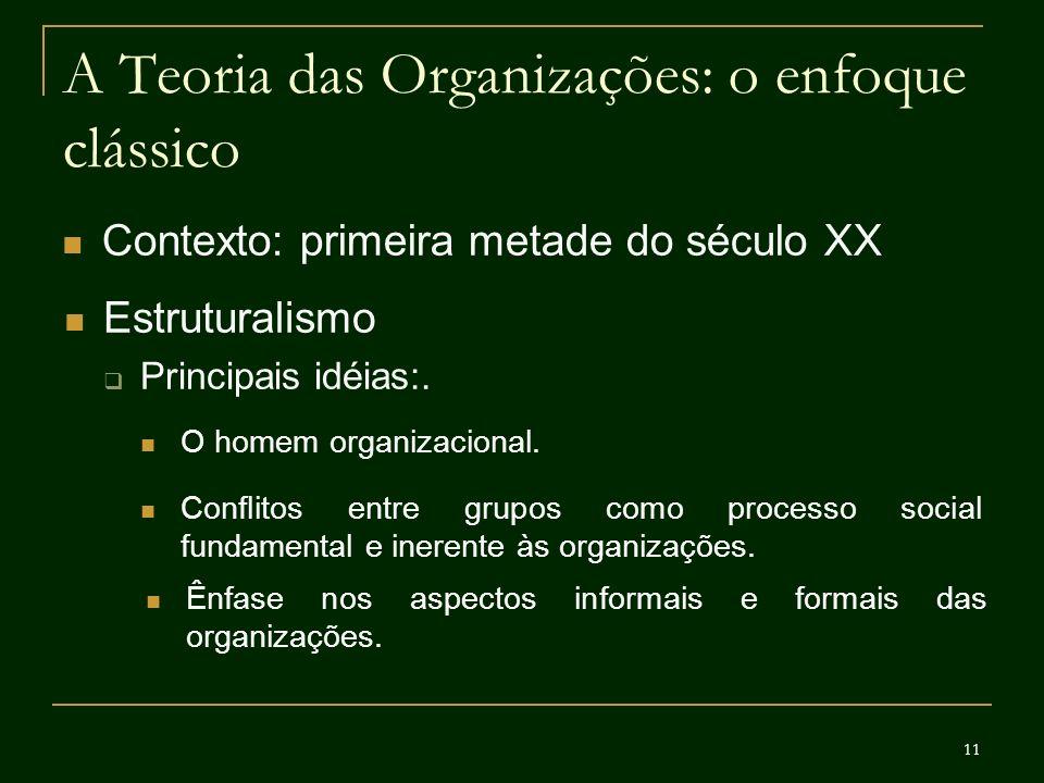 11 A Teoria das Organizações: o enfoque clássico Contexto: primeira metade do século XX Estruturalismo Principais idéias:. O homem organizacional. Ênf