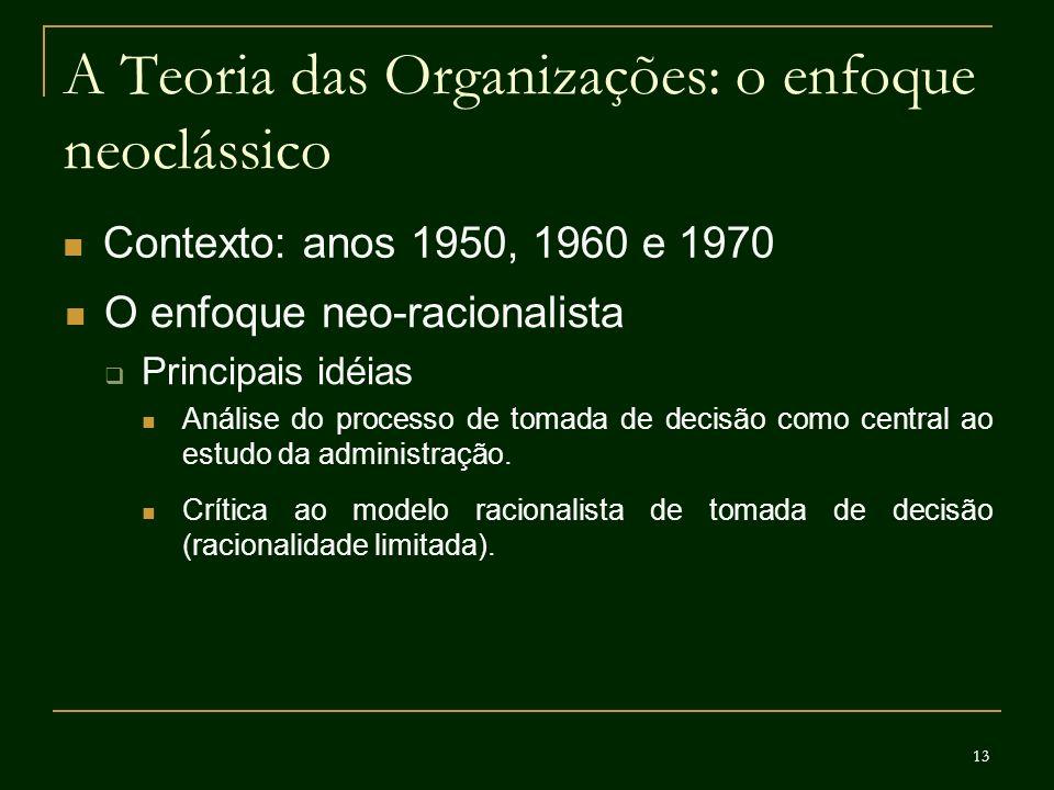 13 A Teoria das Organizações: o enfoque neoclássico Contexto: anos 1950, 1960 e 1970 O enfoque neo-racionalista Principais idéias Análise do processo