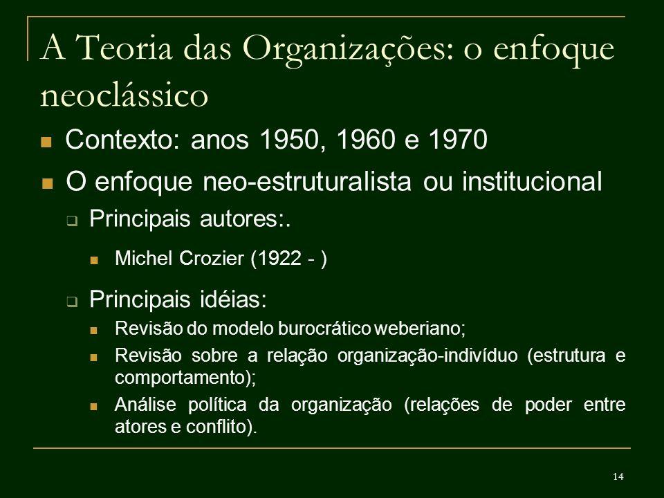 14 A Teoria das Organizações: o enfoque neoclássico Contexto: anos 1950, 1960 e 1970 O enfoque neo-estruturalista ou institucional Principais autores: