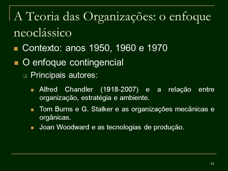 15 A Teoria das Organizações: o enfoque neoclássico Contexto: anos 1950, 1960 e 1970 O enfoque contingencial Principais autores: Alfred Chandler (1918