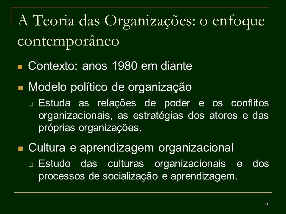 18 A Teoria das Organizações: o enfoque contemporâneo Contexto: anos 1980 em diante Modelo político de organização Estuda as relações de poder e os co