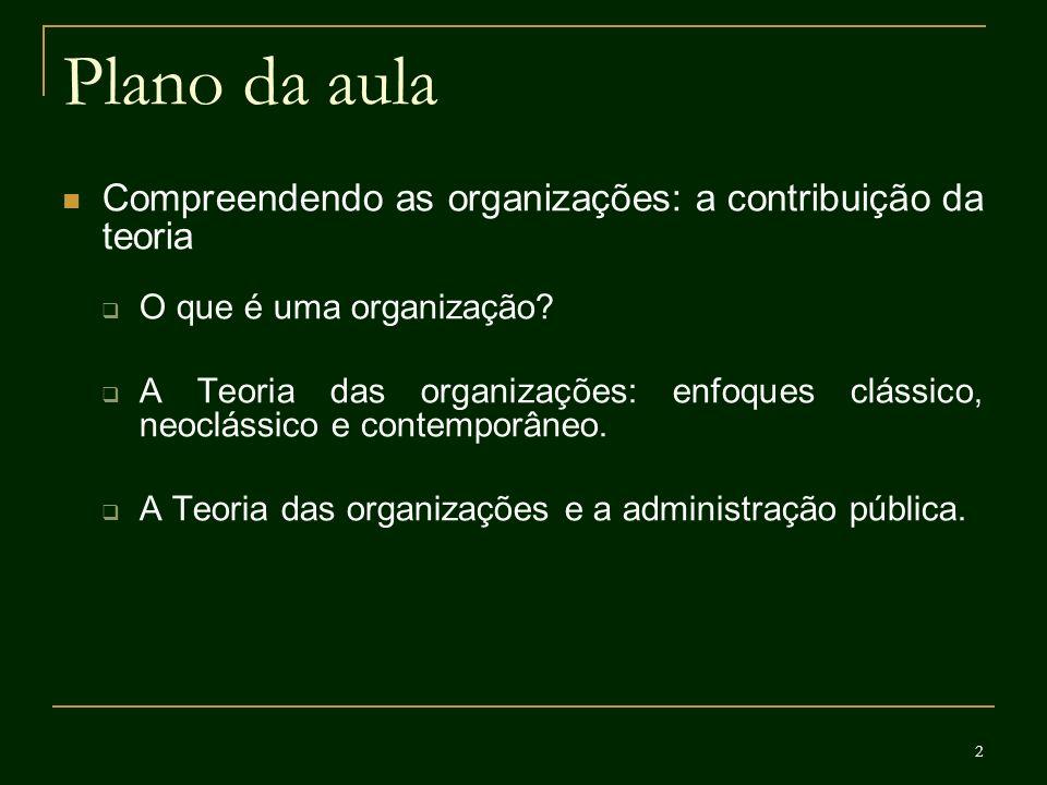 2 Plano da aula Compreendendo as organizações: a contribuição da teoria O que é uma organização? A Teoria das organizações: enfoques clássico, neoclás