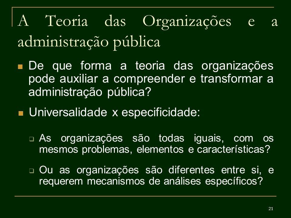 21 A Teoria das Organizações e a administração pública De que forma a teoria das organizações pode auxiliar a compreender e transformar a administraçã