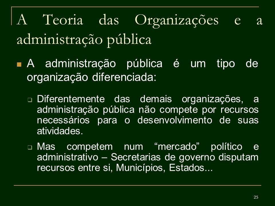 25 A Teoria das Organizações e a administração pública A administração pública é um tipo de organização diferenciada: Diferentemente das demais organi