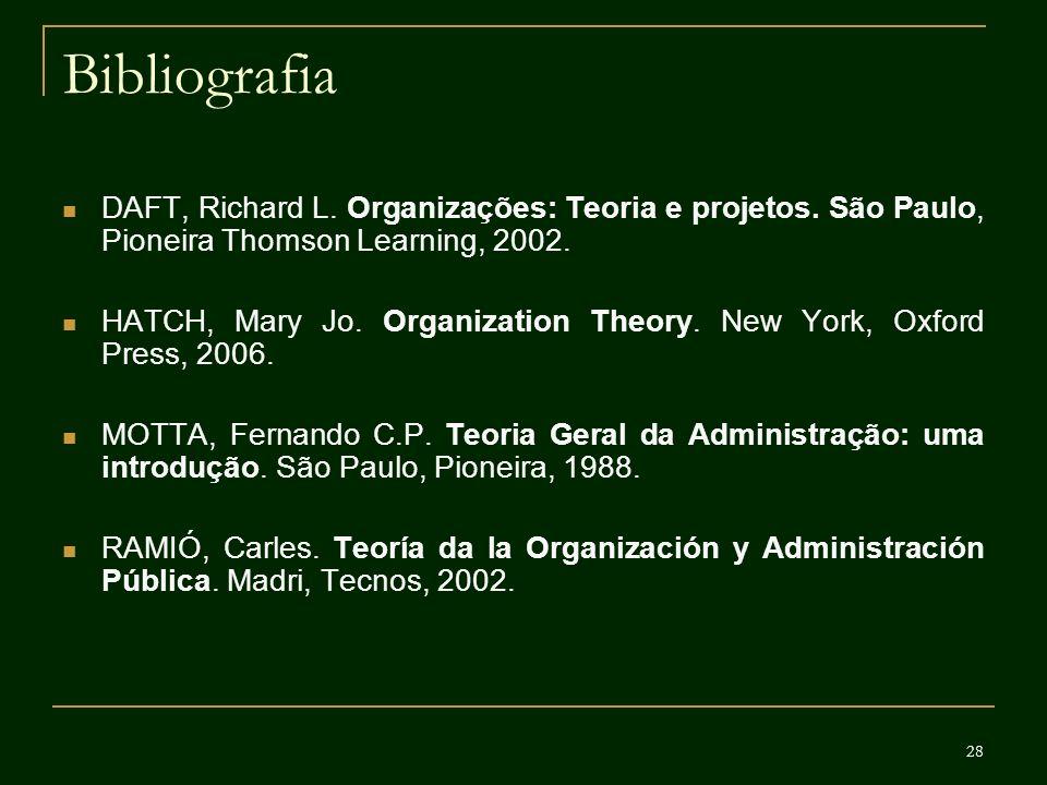 28 Bibliografia DAFT, Richard L. Organizações: Teoria e projetos. São Paulo, Pioneira Thomson Learning, 2002. HATCH, Mary Jo. Organization Theory. New
