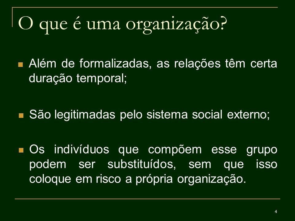 4 O que é uma organização? Além de formalizadas, as relações têm certa duração temporal; São legitimadas pelo sistema social externo; Os indivíduos qu