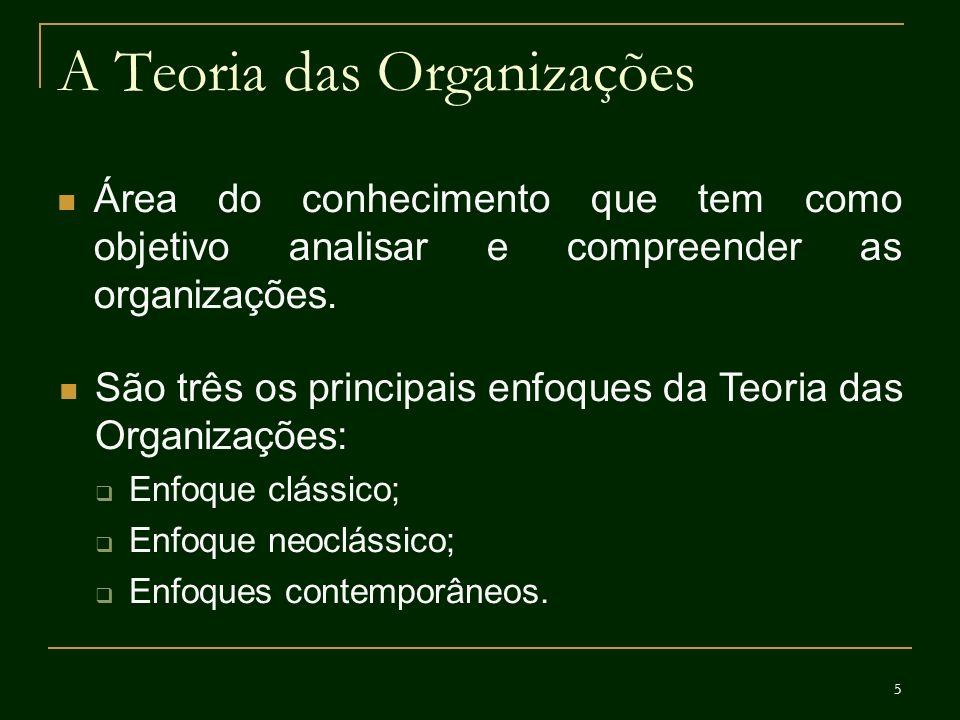 5 A Teoria das Organizações Área do conhecimento que tem como objetivo analisar e compreender as organizações. São três os principais enfoques da Teor