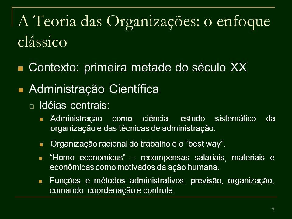 18 A Teoria das Organizações: o enfoque contemporâneo Contexto: anos 1980 em diante Modelo político de organização Estuda as relações de poder e os conflitos organizacionais, as estratégias dos atores e das próprias organizações.