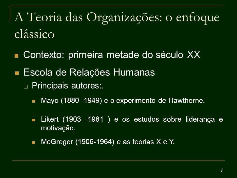 19 A Teoria das Organizações: o enfoque contemporâneo Contexto: anos 1980 em diante Mudança organizacional Abordagens que procuram analisar as mudanças orgnizacionais como produto de mudanças produzidas pelo ambiente; pela cultura; pelo padrão de relacionamento com outras organizações, entre outros fatores.