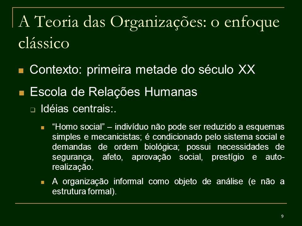 9 A Teoria das Organizações: o enfoque clássico Contexto: primeira metade do século XX Escola de Relações Humanas Idéias centrais:. Homo social – indi