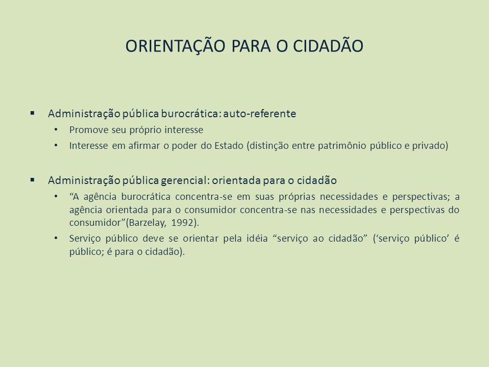 ORIENTAÇÃO PARA O CIDADÃO Administração pública burocrática: auto-referente Promove seu próprio interesse Interesse em afirmar o poder do Estado (dist
