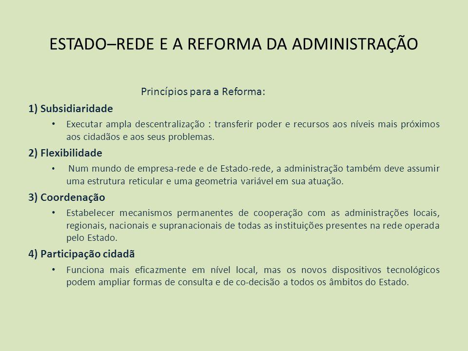 ESTADO–REDE E A REFORMA DA ADMINISTRAÇÃO Princípios para a Reforma: 1) Subsidiaridade Executar ampla descentralização : transferir poder e recursos ao