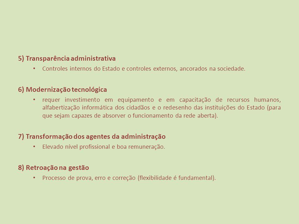 5) Transparência administrativa Controles internos do Estado e controles externos, ancorados na sociedade. 6) Modernização tecnológica requer investim