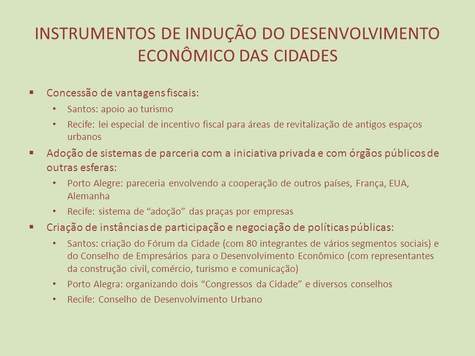 INSTRUMENTOS DE INDUÇÃO DO DESENVOLVIMENTO ECONÔMICO DAS CIDADES Concessão de vantagens fiscais: Santos: apoio ao turismo Recife: lei especial de ince