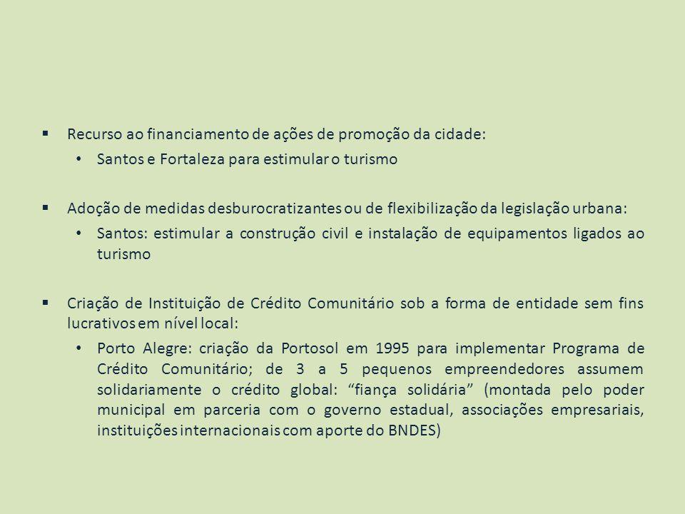 Recurso ao financiamento de ações de promoção da cidade: Santos e Fortaleza para estimular o turismo Adoção de medidas desburocratizantes ou de flexib
