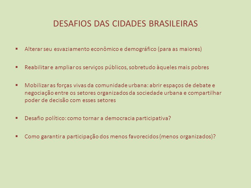 DESAFIOS DAS CIDADES BRASILEIRAS Alterar seu esvaziamento econômico e demográfico (para as maiores) Reabilitar e ampliar os serviços públicos, sobretu