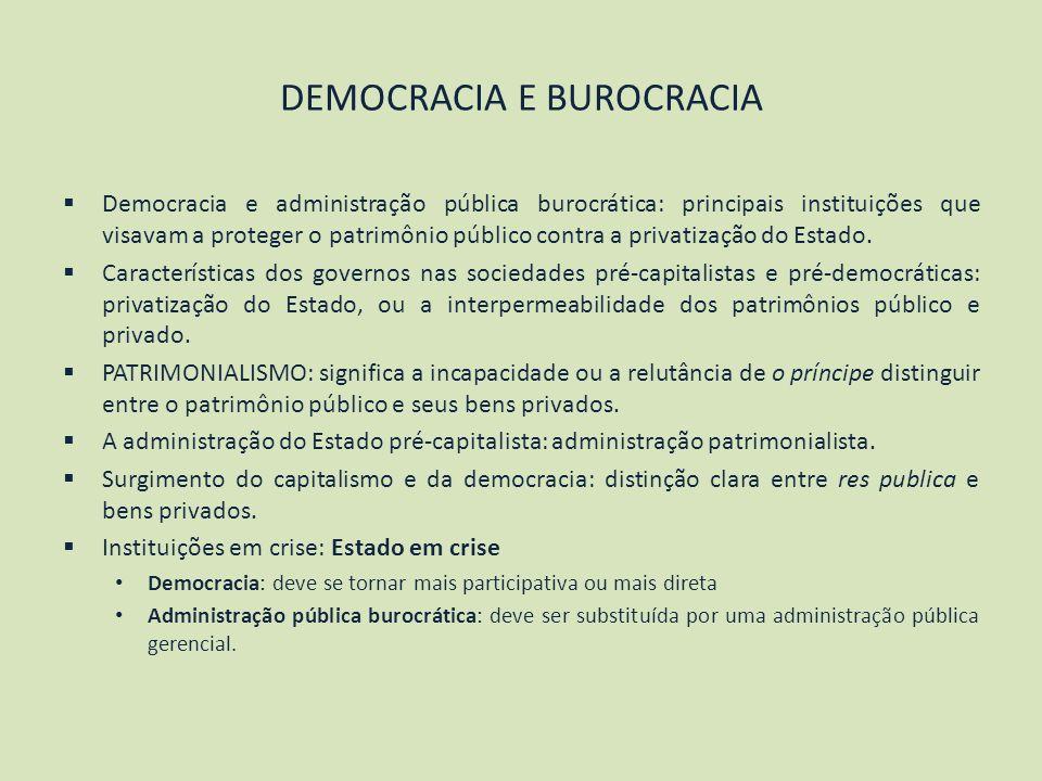 DEMOCRACIA E BUROCRACIA Democracia e administração pública burocrática: principais instituições que visavam a proteger o patrimônio público contra a p