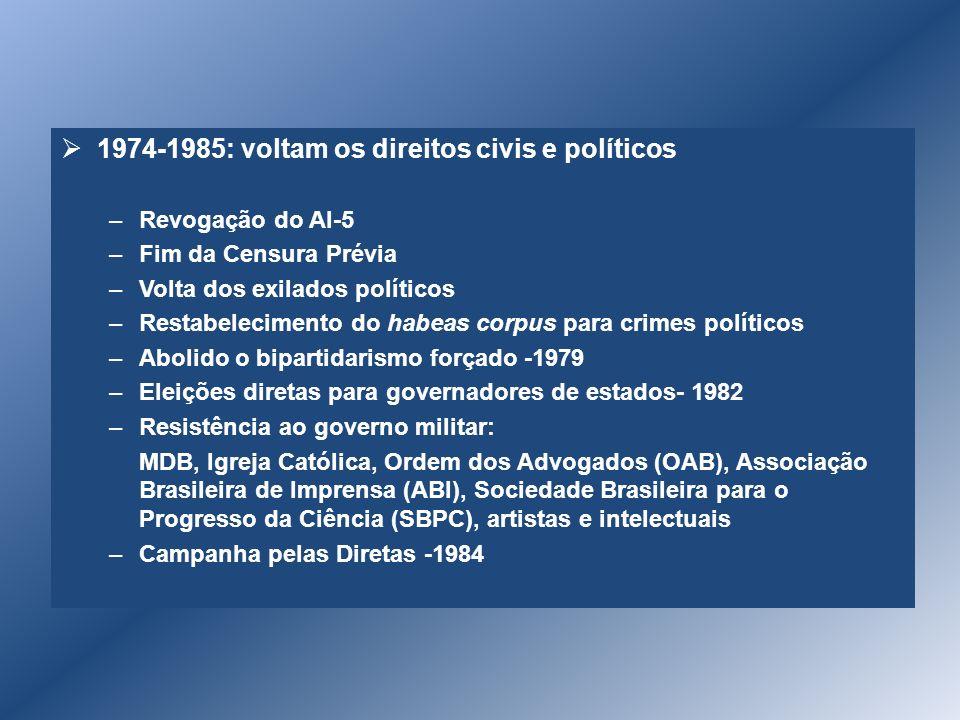 1974-1985: voltam os direitos civis e políticos –Revogação do AI-5 –Fim da Censura Prévia –Volta dos exilados políticos –Restabelecimento do habeas co