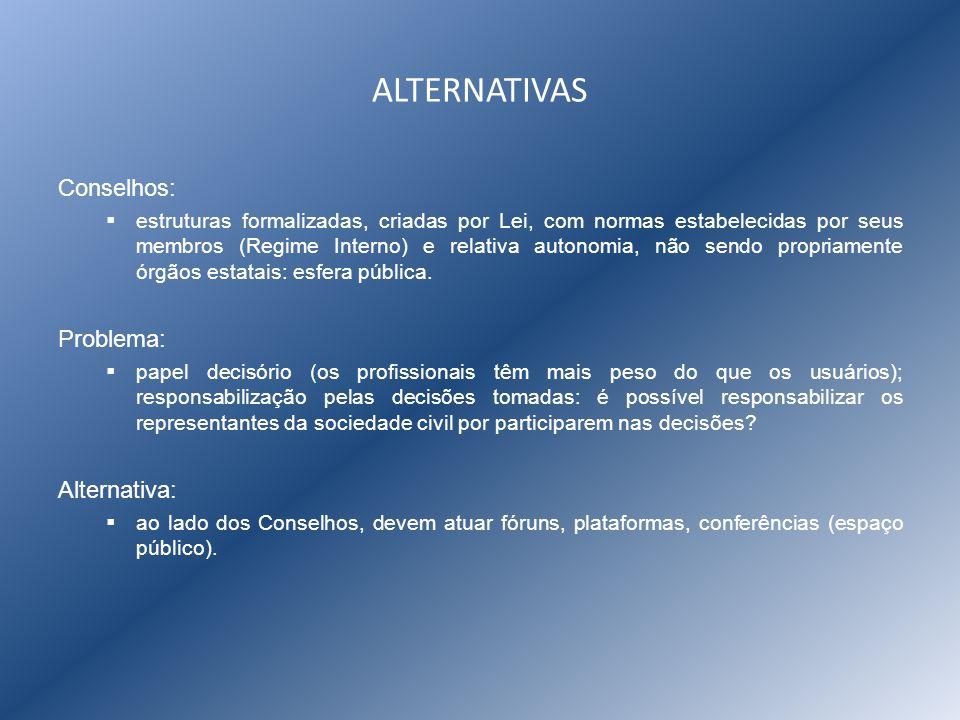 ALTERNATIVAS Conselhos: estruturas formalizadas, criadas por Lei, com normas estabelecidas por seus membros (Regime Interno) e relativa autonomia, não