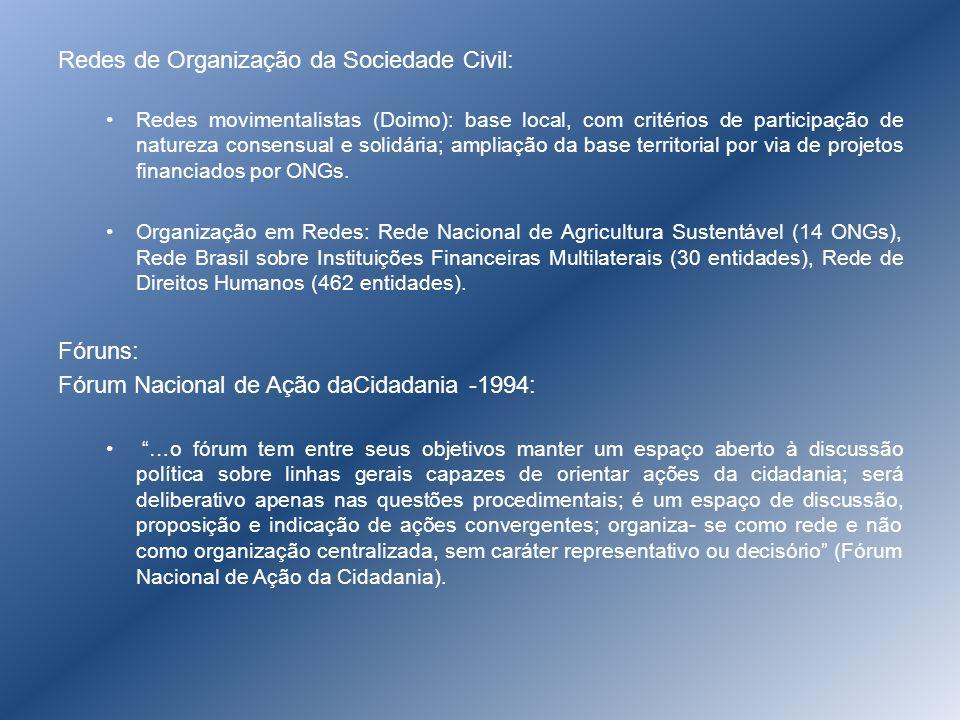 Redes de Organização da Sociedade Civil: Redes movimentalistas (Doimo): base local, com critérios de participação de natureza consensual e solidária;