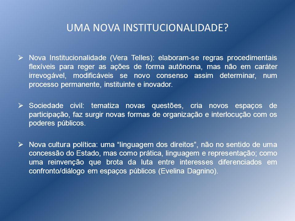 UMA NOVA INSTITUCIONALIDADE? Nova Institucionalidade (Vera Telles): elaboram-se regras procedimentais flexíveis para reger as ações de forma autônoma,