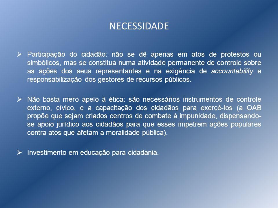 NECESSIDADE Participação do cidadão: não se dê apenas em atos de protestos ou simbólicos, mas se constitua numa atividade permanente de controle sobre