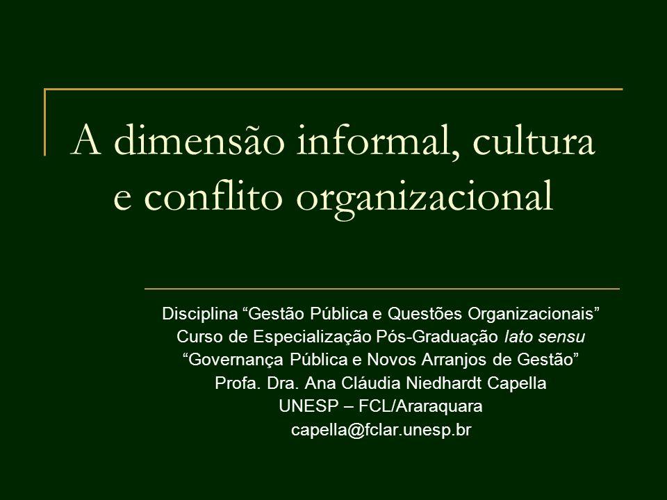A dimensão informal, cultura e conflito organizacional Disciplina Gestão Pública e Questões Organizacionais Curso de Especialização Pós-Graduação lato