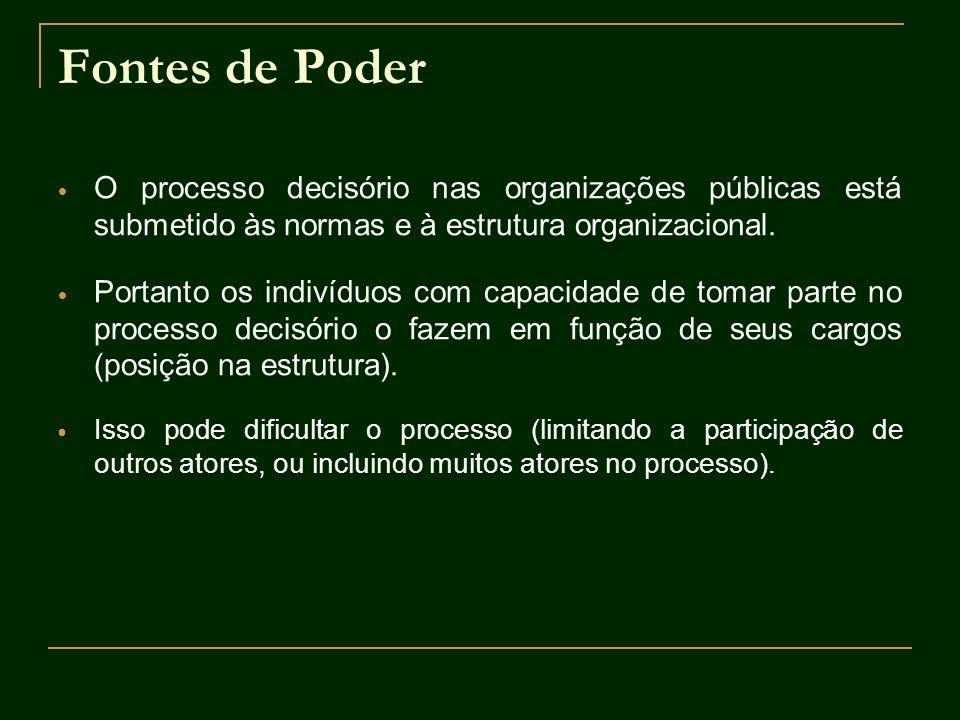 Fontes de Poder O processo decisório nas organizações públicas está submetido às normas e à estrutura organizacional. Portanto os indivíduos com capac