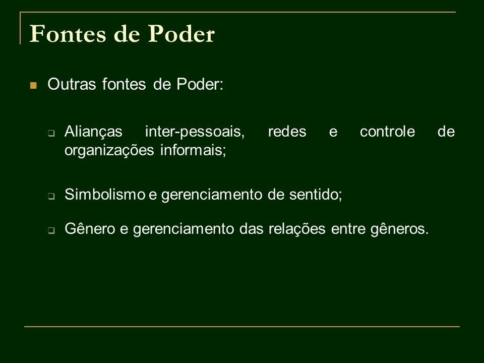 Fontes de Poder Outras fontes de Poder: Alianças inter-pessoais, redes e controle de organizações informais; Simbolismo e gerenciamento de sentido; Gê