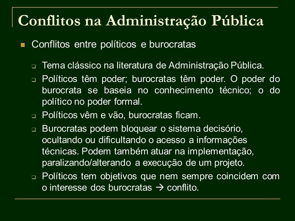 Conflitos na Administração Pública Conflitos entre políticos e burocratas Tema clássico na literatura de Administração Pública. Políticos têm poder; b
