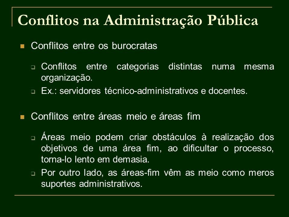 Conflitos na Administração Pública Conflitos entre os burocratas Conflitos entre categorias distintas numa mesma organização. Ex.: servidores técnico-