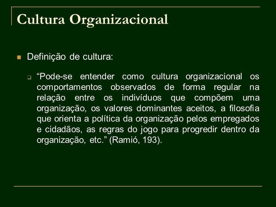 Cultura Organizacional Definição de cultura: Pode-se entender como cultura organizacional os comportamentos observados de forma regular na relação ent