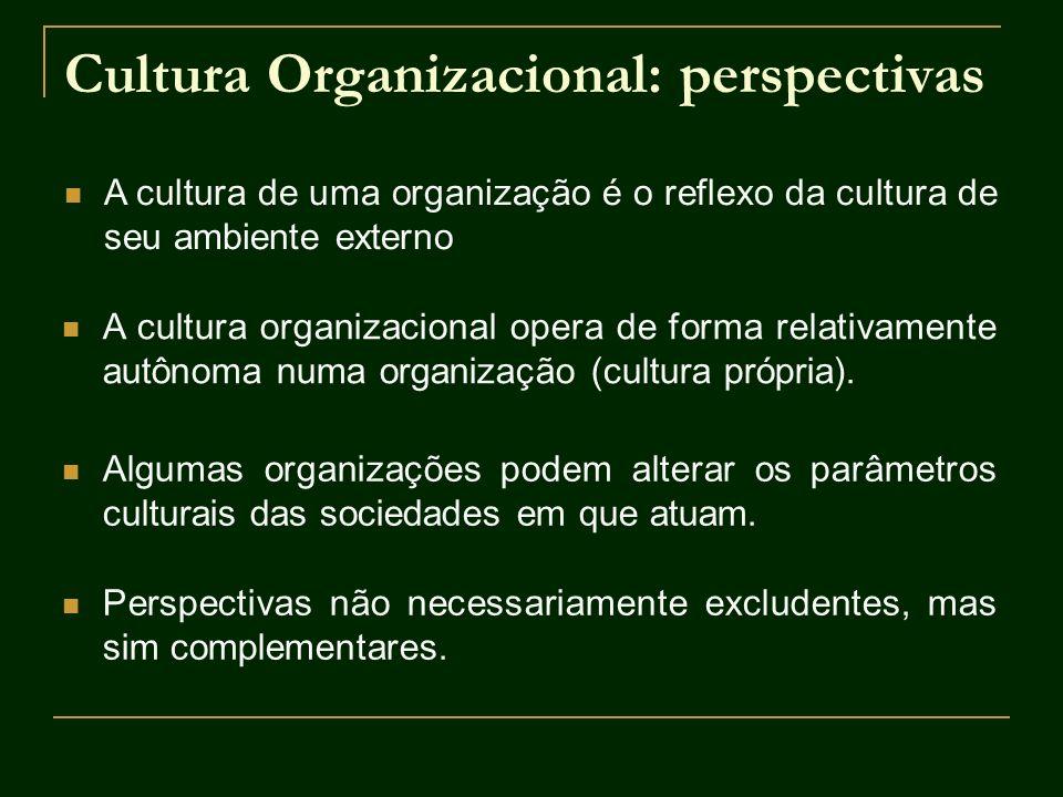 Cultura Organizacional: perspectivas A cultura de uma organização é o reflexo da cultura de seu ambiente externo A cultura organizacional opera de for