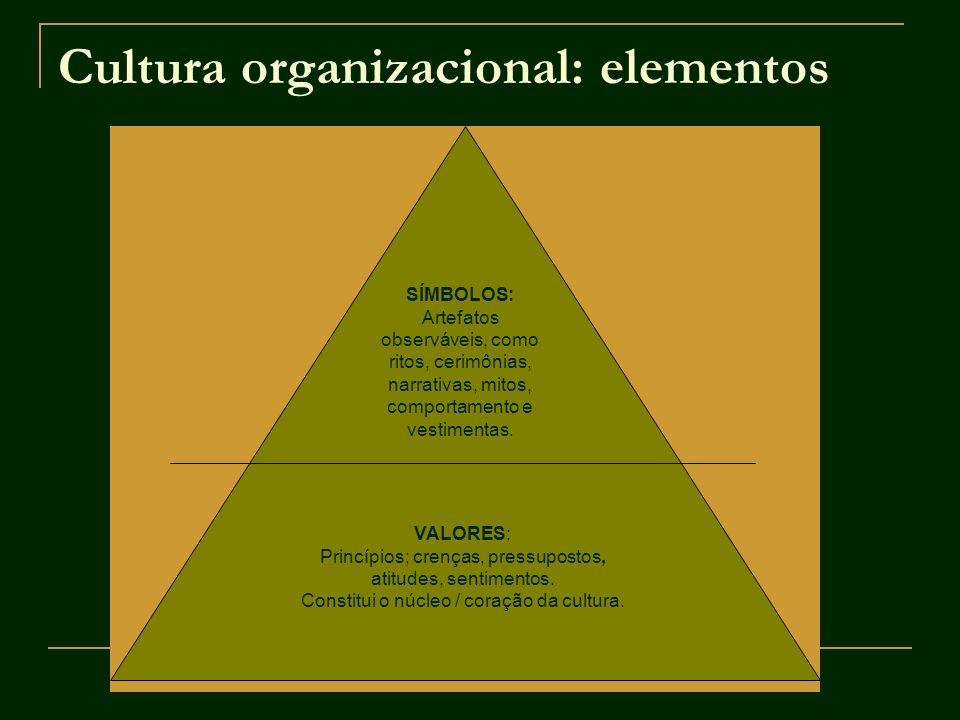 Cultura organizacional: elementos SÍMBOLOS: Artefatos observáveis, como ritos, cerimônias, narrativas, mitos, comportamento e vestimentas. VALORES: Pr