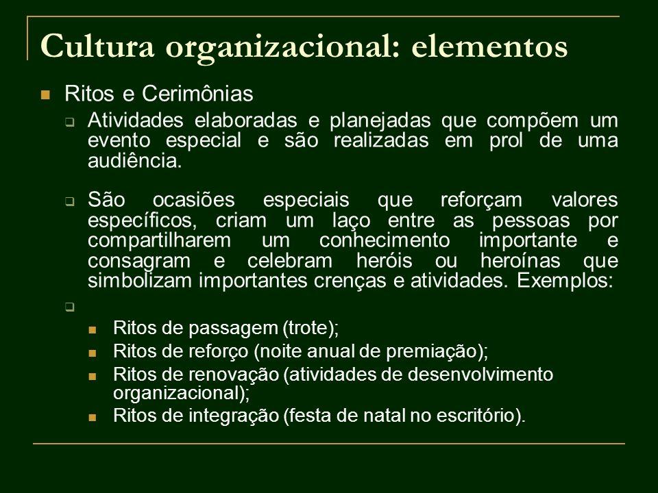 Cultura organizacional: elementos Ritos e Cerimônias Atividades elaboradas e planejadas que compõem um evento especial e são realizadas em prol de uma